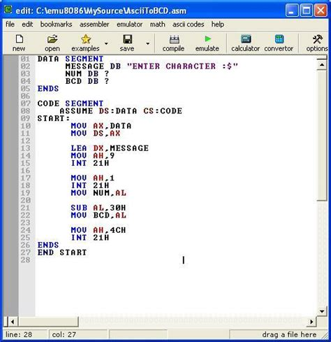 Assembly program to convert ASCII code to its BCD