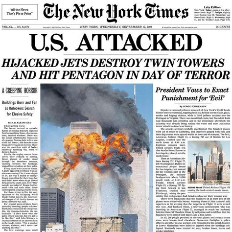 Newspaper front pages from September 12, 2001 - 9/11