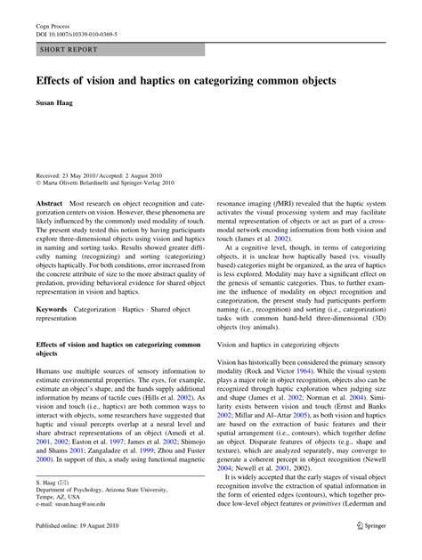 (PDF) Effects of vision and haptics on categorizing common