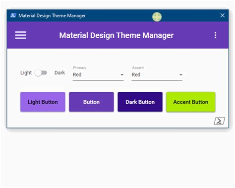Material Design change dynamically the theme - PowerShell-WPF