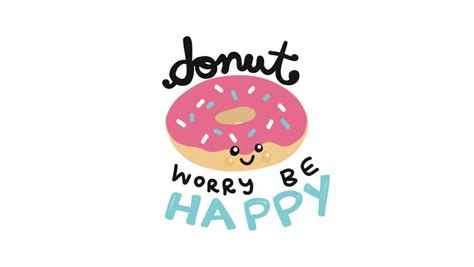 Donut Worry Be Happy Cute Stock Footage Video (100%