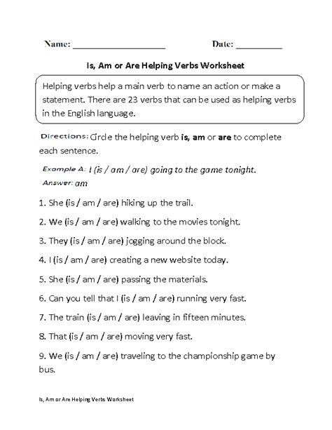 Helping Verbs Worksheets | Is, Am or Are Helping Verbs