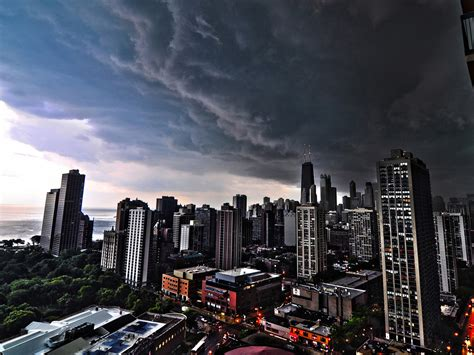 Dark City Storm Clouds Over Chicago Wallpapers Hd