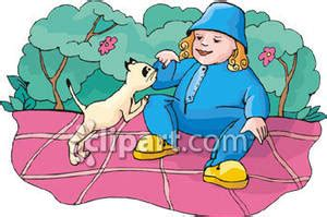 A Fat Child Petting Her Cat - Royalty Free Clipart Picture