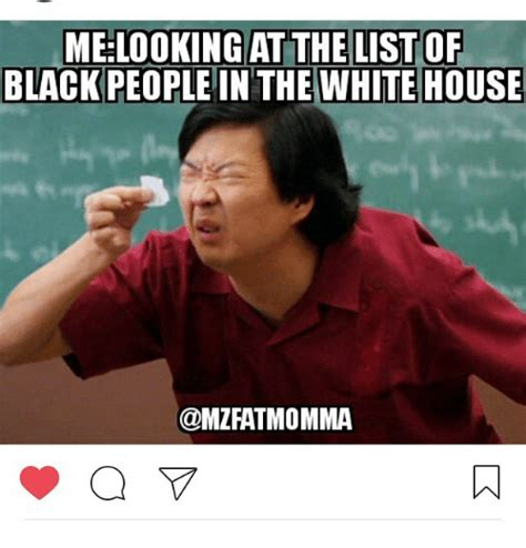 MELOOKING AT THE LIST OF BLACK PEOPLE IN THE WHITE HOUSE