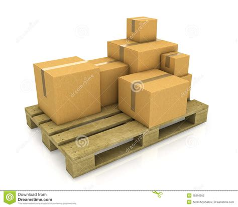 Stack Of Different Sized Carton Boxes On Pallet Royalty
