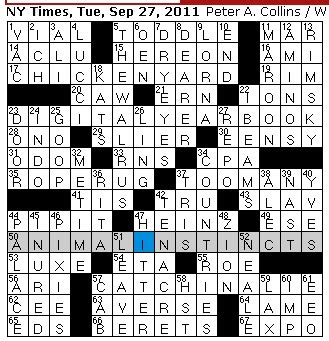 Rex Parker Does the NYT Crossword Puzzle: September 2011
