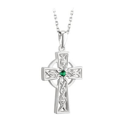 Sterling Silver Celtic Cross with Green C/Z - Out of Ireland