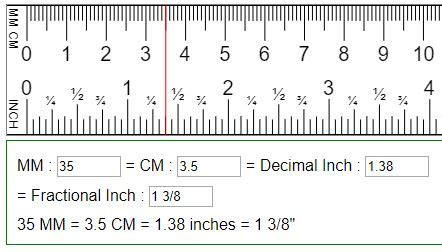 Convert mm, cm to fraction or decimal inches (in = mm = cm)