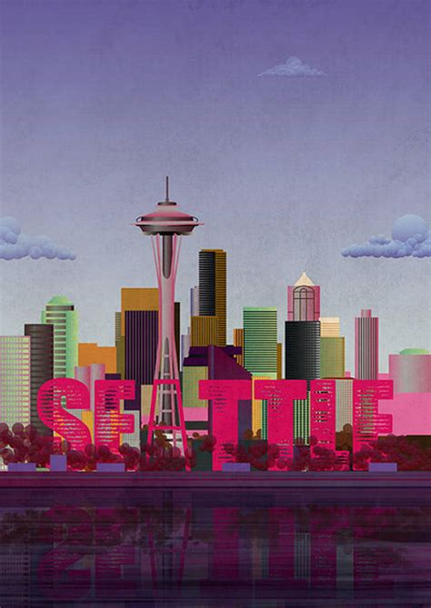 print of seattle skyline by lime lace | notonthehighstreet