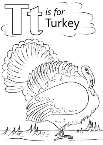 T is for Turkey coloring page   Free Printable Coloring Pages