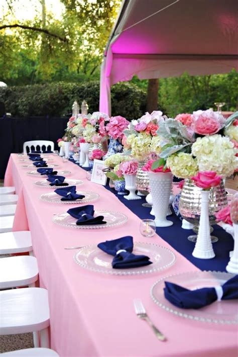 Navy and pink wedding decor   Summer bridal showers